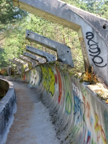 Remains of the Olympic bobsled track